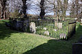 Church of St Mary and St Christopher, Panfield - churchyard fenced monuments external.jpg