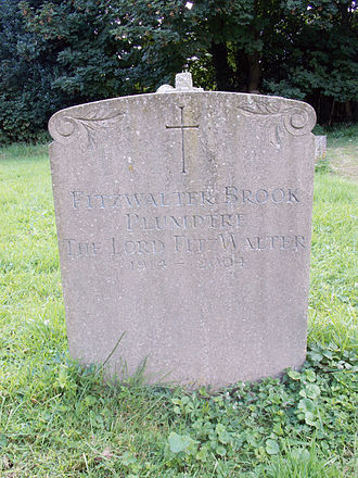 Baron FitzWalter - Headstone to Fitzwalter Brook Plumptre in the cemetery of the Church of the Holy Cross, Goodnestone, Kent
