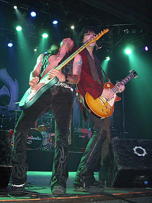 Cinderella (band) - Tom Keifer and Jeff LaBar playing in Madrid, Spain in June 2010.