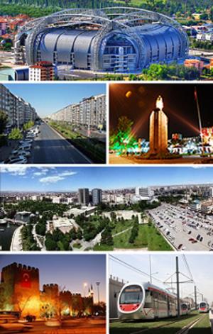 Kayseri - Top: Kadir Has Stadium, 2nd left: Sivas Avenue, 2nd right: Atatürk Statue and the city walls of Kayseri in the background, 3rd: Tekin business district and Oto Park, Bottom left: Kayseri Castle at night, Bottom right: Kayseray.