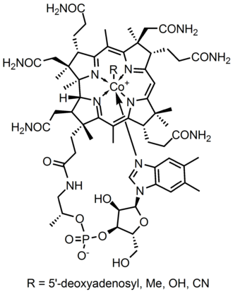 Structural formula - Skeletal structural formula of Vitamin B12. Many organic molecules are too complicated to be specified with a chemical formula (molecular formula).