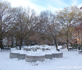 Cobble Hill, Brooklyn - Cobble Hill Park with snow on the ground