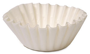 Coffee filter - A basket-type coffee filter, here made of bleached paper