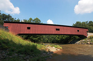 Conestoga Township, Lancaster County, Pennsylvania - Image: Colemanville Covered Bridge Full Side View 3008px