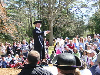 Archaeological open-air museum - Thomas Jefferson reenactment by actor Bill Barker at (Colonial Williamsburg, United States)
