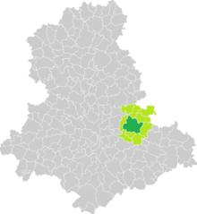 Al mapa d'Haute-Vienne, posició del municipi del cantó de Saint-Léonard-de-Noblat