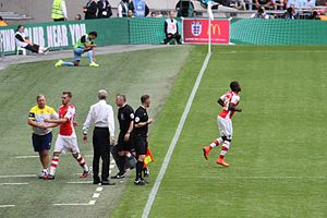 Joel Campbell - Campbell making his debut for Arsenal in the 2014 FA Community Shield