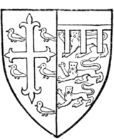 Fig. 712.—Thomas de Mowbray, Duke of Norfolk (d. 1400). (From a drawing of his seal, MS. Cott., Julius, C. vii., f. 166.) Arms, see page 465.