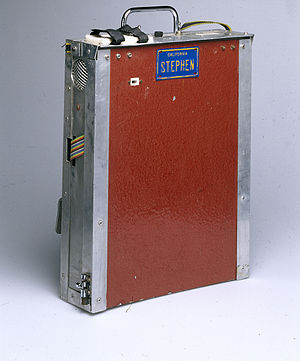 Speech synthesis -  Computer and speech synthesiser housing used by Stephen Hawking in 1999