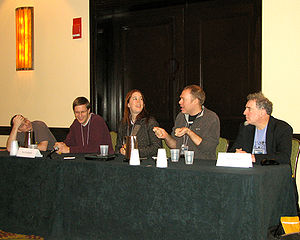 "ConFusion - Left to right: John Scalzi, Karl Schroeder, Justine Larbalestier, Scott Westerfeld and James Frenkel on a panel at ""ConFusion 2008""."