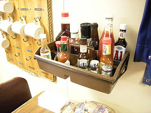 Condiments in the mess of the research vessel ...