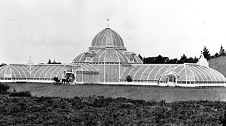 Conservatory of Flowers - The conservatory, as it appeared in 1879, before its dome was replaced following the 1883 fire.