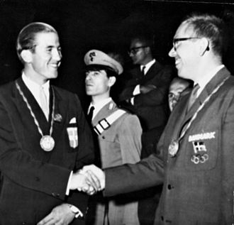 Constantine II of Greece - Constantine (left) at the 1960 Olympics