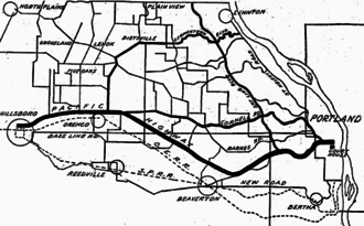 Cornell Road - Map showing existing and proposed road alignments in Washington County in 1917