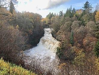 Falls of Clyde (waterfalls) - Image: Corra Linn in spate, 4 November