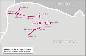 Ferrocarril Económico Correntino - Image: Corrientes econom railw map