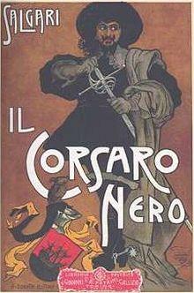 Copertina de Il Corsaro Nero di Emilio Salgari (1898), 3ª edizione, 1904, illustrazione di Alberto Della Valle (1851-1928).