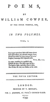 "La page indique ""Poèmes, par William Cowper, du Inner Temple, Esq. en deux Volumes. Vol. I… Cinquième Édition. Londres: Publié par T. Bensley, Pour J. Johnson, St. Paul's Church-Yard. 1793."""
