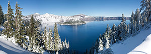 Crater Lake National Park - November panoroma from Rim Village. During the winter, the road up to Rim Village is normally plowed but Rim Drive is closed.