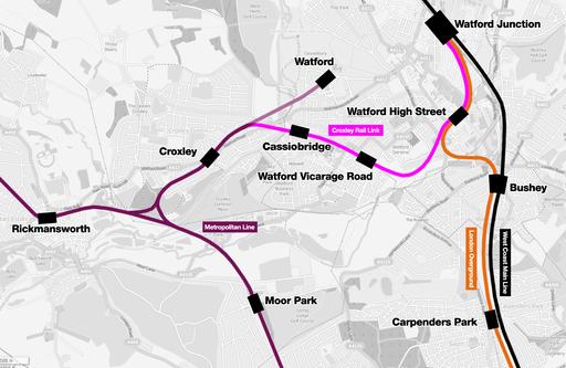 Croxley rail link map