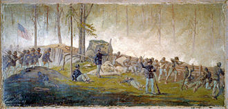 Culp's Hill - Edwin Forbes' Scene behind the breastworks on Culps Hill, morning of July 3rd 1863, painting by Edwin Forbes