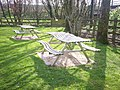 Curvy Picnic Tables, St Mary's Garden, Whitland - geograph.org.uk - 1298579.jpg