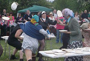Custard pie - Custard Pie Flinging at Coxheath, during the World Custard Pie Flinging Championship