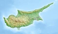 """Mapa konturowa Cypru, blisko centrum na dole znajduje się punkt z opisem """"Larnaka"""""""