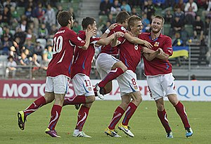 2011 UEFA European Under-21 Championship - Czech players after Bořek Dočkal's 2–0 goal against Ukraine