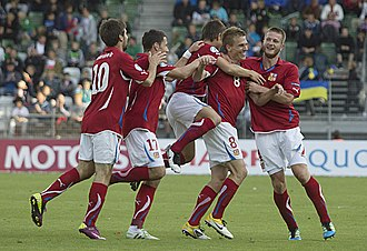 2011 UEFA European Under-21 Championship - Czech players after Bořek Dočkal's 2–0 goal against Ukraine