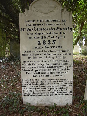 Joseph Antonio Emidy - Gravestone of Joseph Antonio Emidy in Kenwyn Churchyard