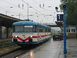 Deutsch: Vor der Eröffnungsfahrt des Elbe-Elster-Express in FalkenbergEnglish: Before the inaugaration tour of the Elbe-Elster-Express in the station of Falkenberg, South Brandenburg