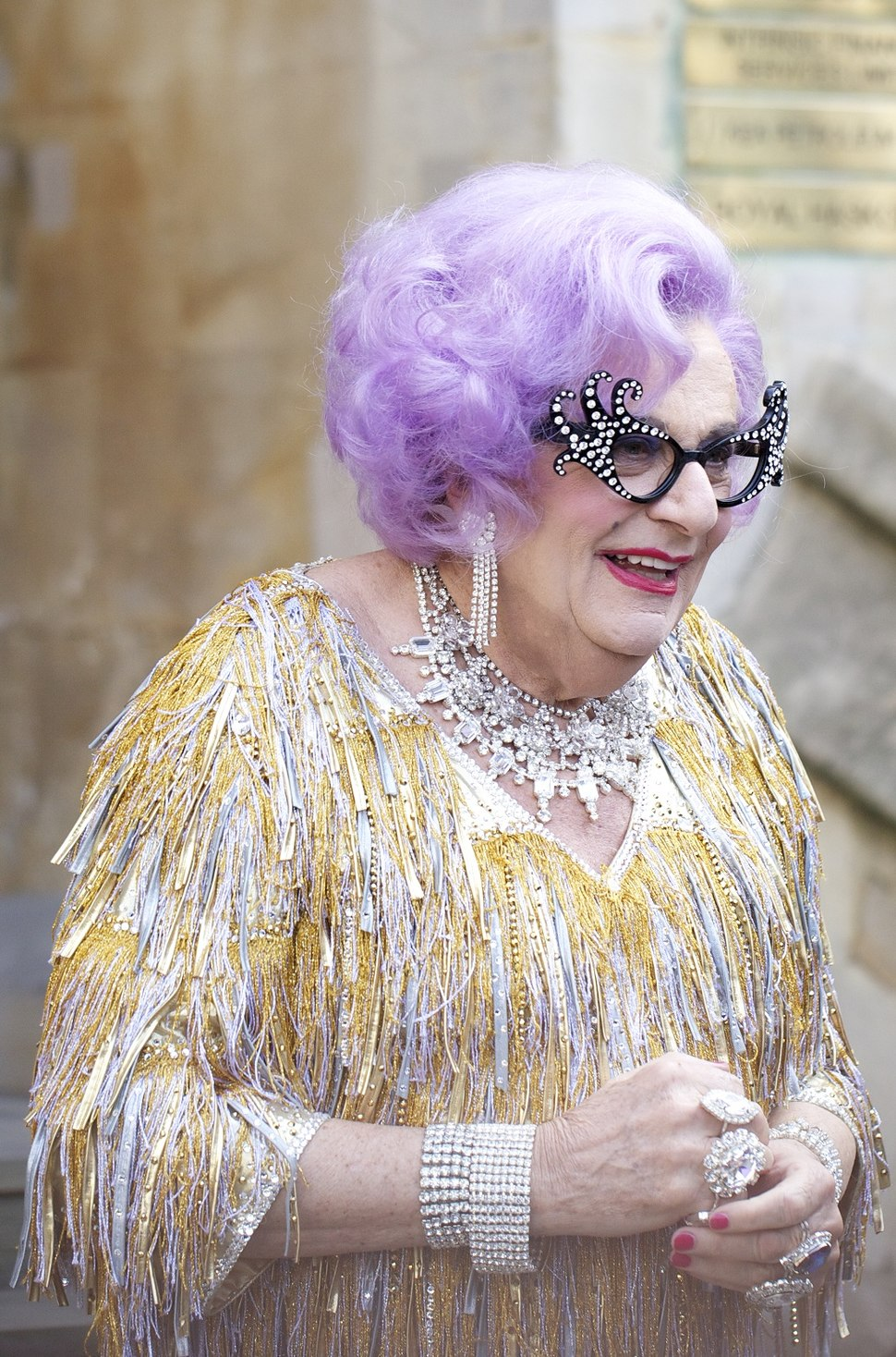 Dame Edna at the royal wedding cropped