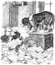 """Snowed under.The St. Bernard Pup (to his Master). """"This situation appeals to my hereditary instincts. Shall I come to the rescue?""""[Before leaving Switzerland Mr. Lloyd George purchased a St. Bernard pup.]Cartoon from Punch September 15, 1920"""