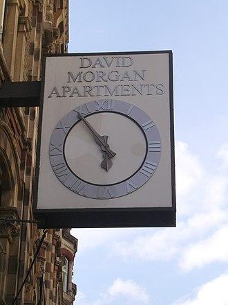 David Morgan (department store) - Image: David Morgan Apartments clock