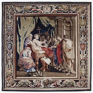 Gobelins Manufactory - Death of Constantine tapestry (one in a series) after a design by Rubens woven by Filippe Maëcht and Hans Taye in the Comans-La Planche workshop, 1623-1625
