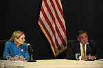 Defense.gov News Photo 111004-F-RG147-688 - Secretary of Defense Leon Panetta answers a reporter s question during a press conference with U.S. Ambassador to Egypt Anne Patterson in Cairo.jpg
