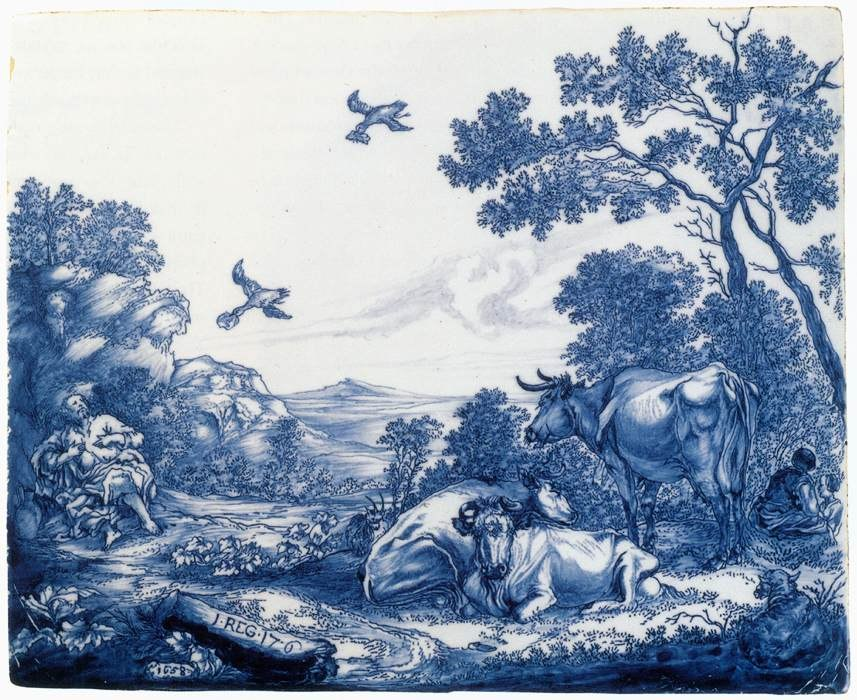 Delftware plaque with the Prophet Elijah fed by the Ravens