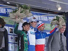 Photographie présentant Bryan Coquard sur le podium du Grand prix de Denain.