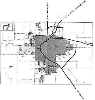 Interstate 270 (Colorado) - 1955 map showing planned Interstate highways around Denver