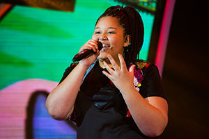 Junior Eurovision Song Contest 2015 - Destiny Chukunyere, winner, performing during the contest for Malta