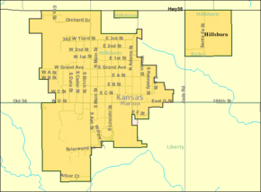 Detailed map of Hillsboro, Kansas.png