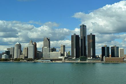 In 2013, Detroit filed the largest municipal bankruptcy case in U.S. history. Detroit, USA Taken From Windsor, Canada.jpg