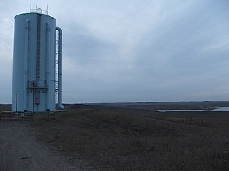 Devils Lake (North Dakota) - One of two large pumps used in the state constructed outlet.