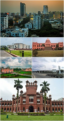 1.Gulshan commercial area 2. Sangsad Bhaban 3. Ahsan Manzil 4. Lalbagh Fort 5. Hazrat Shahjalal International Airport 6. Curzon Hall
