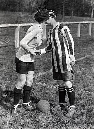 Dick, Kerr Ladies F.C. - The team captains kiss