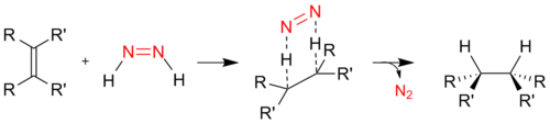 Mechanism of hydrogenation using diimide.