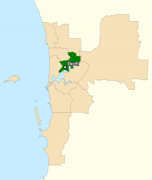 Division of Perth - Division of Perth in Western Australia, as of the 2016 federal election.