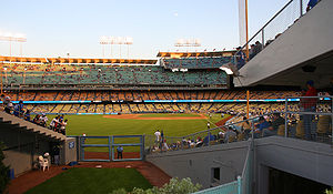 English: View of Dodger Stadium over the home ...