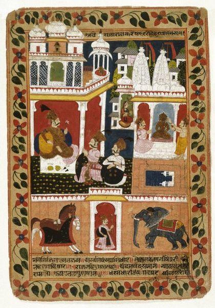 File:Double-sided Leaf from a Chandana Malayaqiri Varta Series Ascribed to the artists Karam and Mahata Chandji.jpg